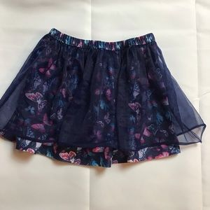 📌Floral Skirt with a Sheer Overlay